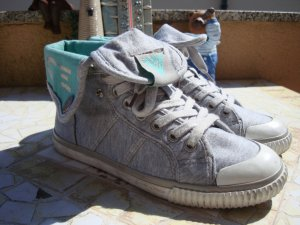 VENICE HIGH-TOP SNEAKER BOOTS grau grey mint türkis NP39,95€ 36/36,5 top!