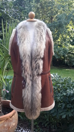 Fur vest multicolored leather