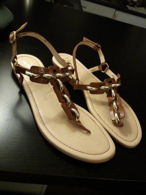Venturini Sandalo toe-post marrone Pelle
