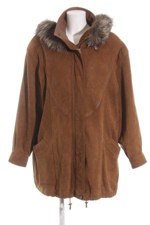 Venus Cuir Manteau à capuche bronze style décontracté