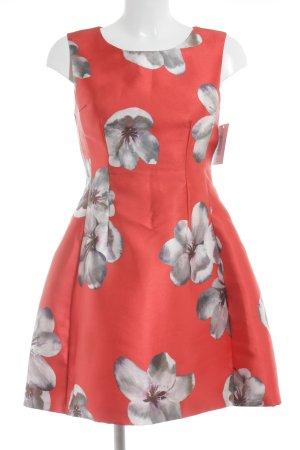 Vera & Lucy Abendkleid rot-grau Blumenmuster Romantik-Look