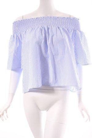 Vera & Lucy Kurzarm-Bluse weiß-kornblumenblau Streifenmuster klassischer Stil