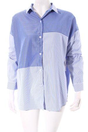 Vera & Lucy Langarm-Bluse blau-weiß Streifenmuster Street-Fashion-Look