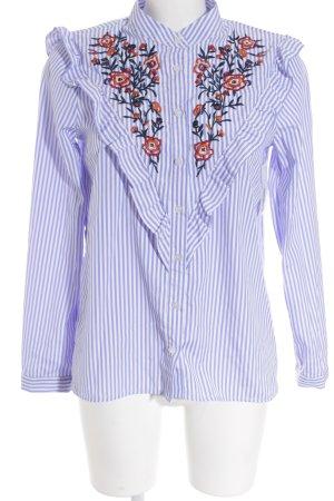 Vera & Lucy Langarm-Bluse weiß-stahlblau Streifenmuster Elegant