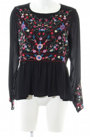 Vera & Lucy Slip-over Blouse black flower pattern casual look
