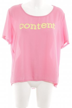 Vera & Lucy T-Shirt pink-blassgelb Schriftzug gedruckt Casual-Look