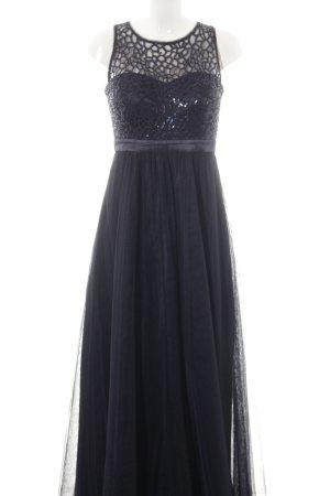 4f4b0b04aa3256 Vera Mont Evening Dress dark blue abstract print wet-look