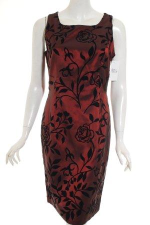 Vera Mont Robe de soirée rouge foncé-noir motif floral élégant