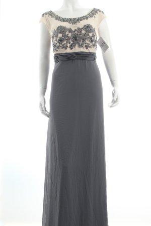 Vera Mont Abendkleid grau-creme florales Muster Glitzersteinverzierung