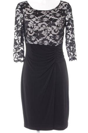 Vera Mont Abendkleid schwarz-weiß florales Muster Elegant