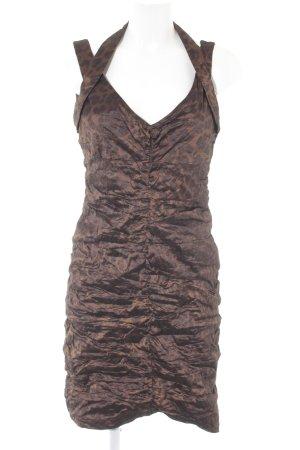 Vera Mont vestido de globo marrón-coñac estampado de animales estilo fiesta