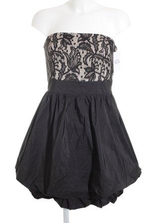 Vera Mont Robe bustier noir-crème motif floral style festif