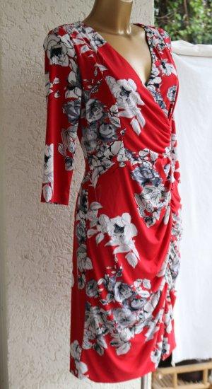 Vera Mont figurbetontes Etui-kleid 40  Wickel-optik rot weiß 3/4 Arm