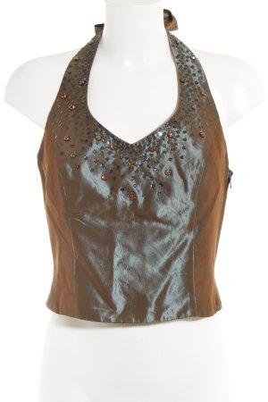 Vera Mont Blusa brillante marrón grisáceo elegante