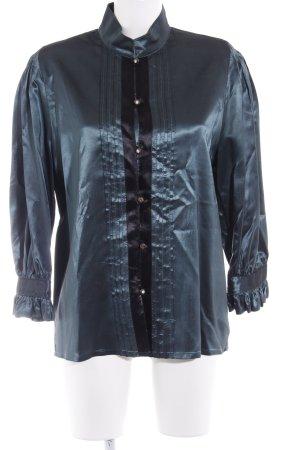 Vera Mont Blouse brillante noir-bleu pétrole élégant