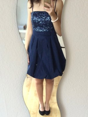 Vera Mont Kleid Cocktailkleid dunkelblau mit Pailletten