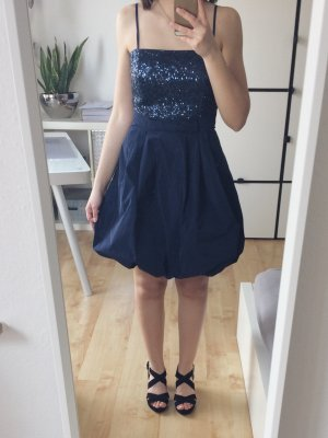 Vera Mont Kleid Cocktailkleid Partykleid Minikleid kurz blau Pailletten