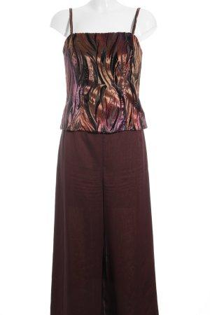 Vera Mont Damespak roodbruin-zwart abstract patroon Jaren 70 stijl