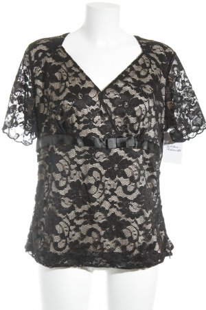 Vera Mont Kurzarm-Bluse schwarz-beige Elegant