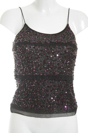 Vera Mont Haut à fines bretelles noir-violet pailleté