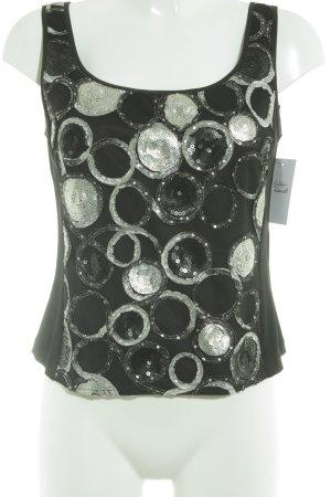 Vera Mont Top de tirantes negro-color plata estampado a lunares