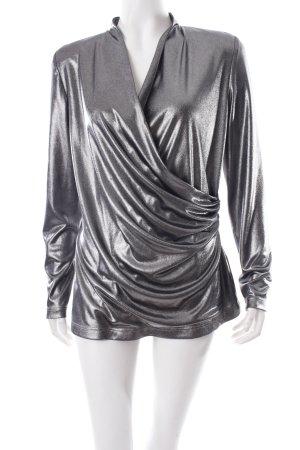 Vera Mont V-Ausschnitt-Shirt silberfarben extravaganter Stil