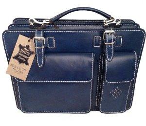 0039 Italy Laptoptas blauw Leer