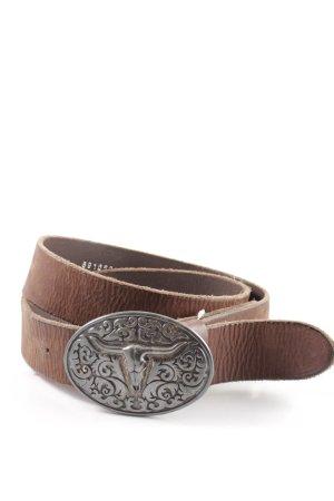 Vera Pelle Cintura di pelle marrone-argento stile stravagante