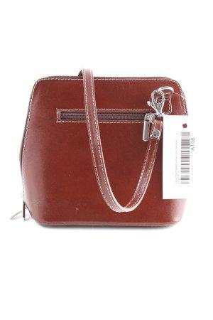 Vera Pelle Minitasche braunrot-silberfarben schlichter Stil