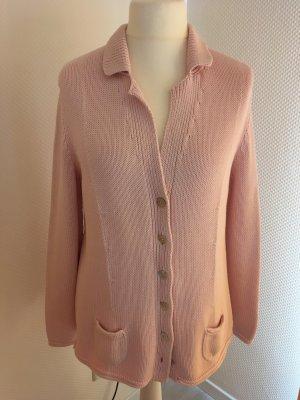 Vera Varelli Veste tricotée en grosses mailles rose clair coton