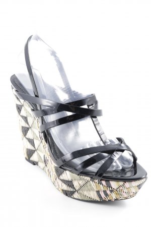 Vera Wang Wedge Sandals Aztec pattern leather-look