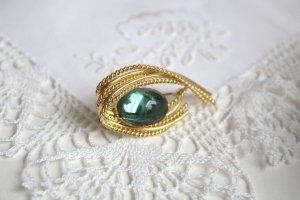 vergoldete Brosche Glas Stein grün