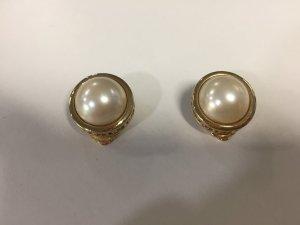 Vergoldete Christian Dior Ohrclips mit Perle