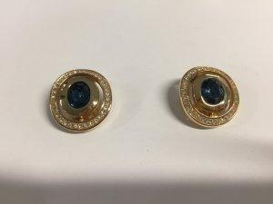 Vergoldete Christian Dior Vintage-Ohrclips mit blauen Steinen