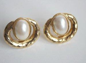 Pendientes de clip color oro-blanco