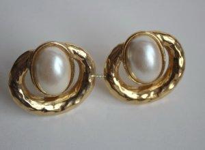 vergoldete Gala Perlen Ohrringe Clipse