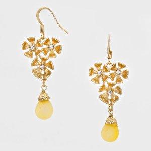 Vergoldete Ohrringe Ohrhänger in gold gelb mit Naturstein