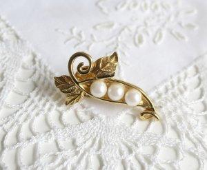 vergoldete Perlen Brosche