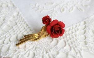 vergoldete Vintage Brosche Rosen