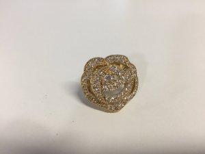 Vergoldeter Dior Ring mit großer Strass-Blume