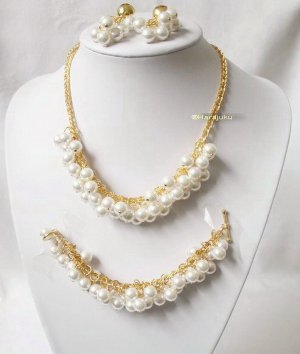 Collier Necklace gold-colored-white