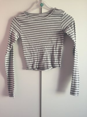 Crop-top blanc-gris clair