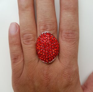 Ring silver-colored-brick red