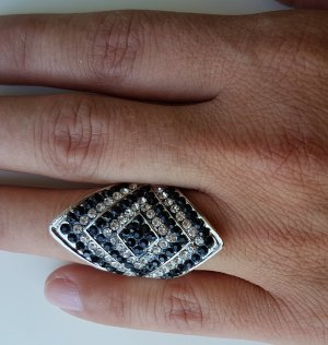 Ring black-silver-colored