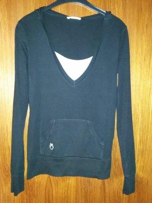 Fishbone Blusa con capucha negro-blanco Algodón