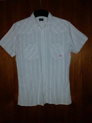 Verkaufe Hemd von LEE Gr. M in weiß/grau/rot - kurzärmlig