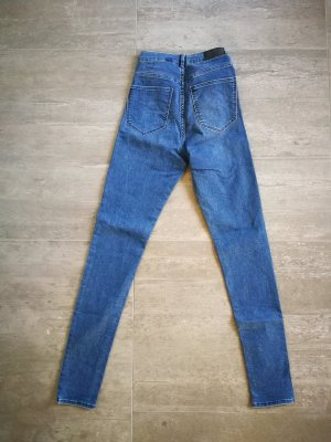 H&M Hoge taille jeans leigrijs-donkerblauw