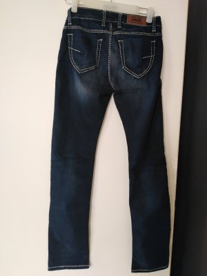 Soccx Low-Rise Trousers blue mixture fibre