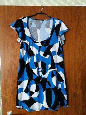 Verkaufe Kleid/Langtop Gr. 36/38 in blau/weiß/schwarz