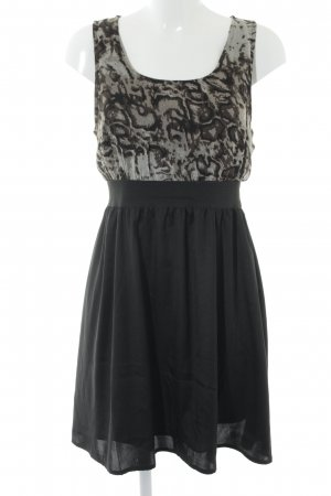 Vero Moda A-Linien Kleid schwarz-graubraun abstraktes Muster Casual-Look
